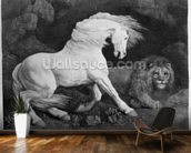 A Horse Affrighted by a Lion, engraved by the artist, 1788 (etching) wall mural kitchen preview