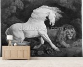 A Horse Affrighted by a Lion, engraved by the artist, 1788 (etching) wall mural living room preview
