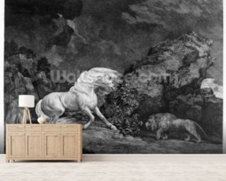 A Horse Affrighted by a Lion, engraved by the artist, 1777 (etching) wallpaper mural