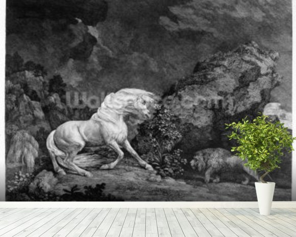 A Horse Affrighted by a Lion, engraved by the artist, 1777 (etching) wallpaper mural room setting