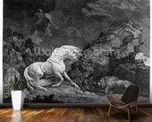 A Horse Affrighted by a Lion, engraved by the artist, 1777 (etching) wallpaper mural kitchen preview