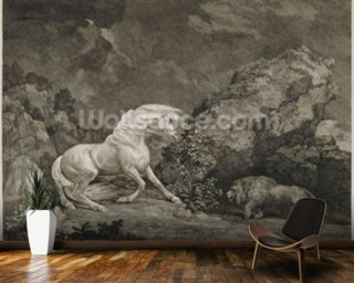 A Horse Affrighted by a Lion, engraved by the artist (etching) mural wallpaper