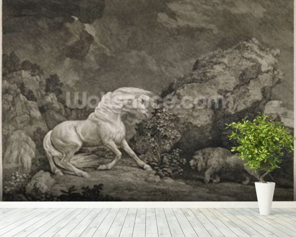 A Horse Affrighted by a Lion, engraved by the artist (etching) mural wallpaper room setting