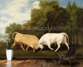Bulls Fighting, 1786 (oil on panel) wall mural kitchen preview