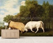 Bulls Fighting, 1786 (oil on panel) wall mural living room preview