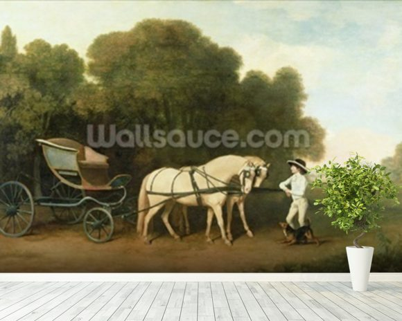 A Phaeton with a Pair of Cream Ponies in the Charge of a Stable-Lad, c.1780-5 (oil on panel) wallpaper mural room setting
