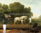 A Phaeton with a Pair of Cream Ponies in the Charge of a Stable-Lad, c.1780-5 (oil on panel) wallpaper mural kitchen preview