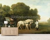 A Phaeton with a Pair of Cream Ponies in the Charge of a Stable-Lad, c.1780-5 (oil on panel) wallpaper mural living room preview