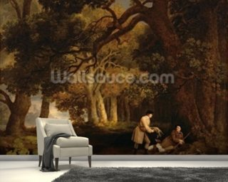 A Repose After Shooting (oil on canvas) mural wallpaper
