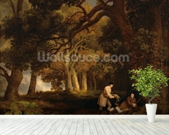 A Repose After Shooting (oil on canvas) mural wallpaper room setting