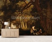 A Repose After Shooting (oil on canvas) mural wallpaper living room preview
