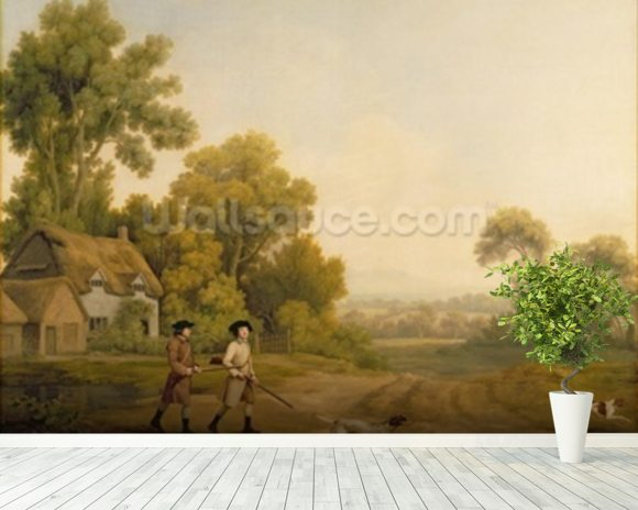 Two Gentlemen Going a Shooting (oil on canvas) wallpaper mural room setting