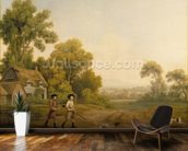 Two Gentlemen Going a Shooting (oil on canvas) wallpaper mural kitchen preview