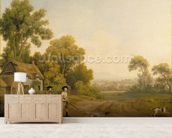 Two Gentlemen Going a Shooting (oil on canvas) wallpaper mural living room preview