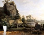 Two Gentlemen Going a Shooting, with a View of Creswell Crags, Taken on the Spot (oil on canvas) mural wallpaper kitchen preview