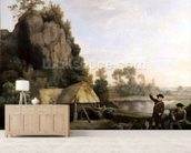 Two Gentlemen Going a Shooting, with a View of Creswell Crags, Taken on the Spot (oil on canvas) mural wallpaper living room preview