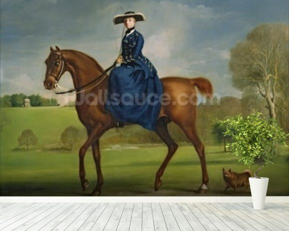 The Countess of Coningsby in the Costume of the Charlton Hunt, c.1760 (oil on canvas) wall mural room setting