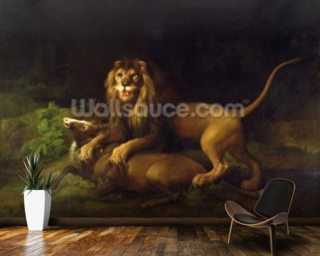 A Lion Attacking a Stag, c.1765 (oil on canvas) wallpaper mural