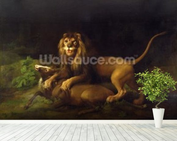 A Lion Attacking a Stag, c.1765 (oil on canvas) wallpaper mural room setting