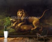 A Lion Attacking a Stag, c.1765 (oil on canvas) wallpaper mural kitchen preview