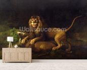 A Lion Attacking a Stag, c.1765 (oil on canvas) wallpaper mural living room preview