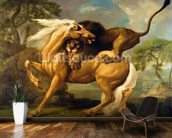 A Lion Attacking a Horse, c.1762 (oil on canvas) mural wallpaper kitchen preview