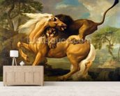 A Lion Attacking a Horse, c.1762 (oil on canvas) mural wallpaper living room preview