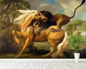 A Lion Attacking a Horse, c.1762 (oil on canvas) mural wallpaper in-room view