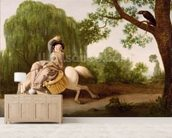 The Farmers Wife and the Raven, 1786 (oil on millboard) wall mural living room preview
