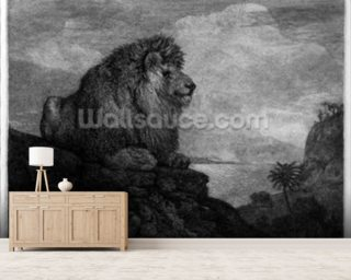 A Lion (A Lion Resting on a Rock) engraved by the artist (etching) wall mural