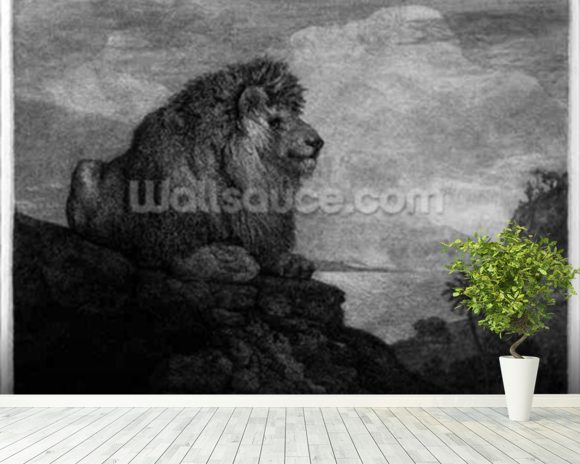 A Lion (A Lion Resting on a Rock) engraved by the artist (etching) wall mural room setting