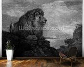 A Lion (A Lion Resting on a Rock) engraved by the artist (etching) wall mural kitchen preview