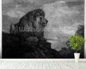 A Lion (A Lion Resting on a Rock) engraved by the artist (etching) wall mural in-room view