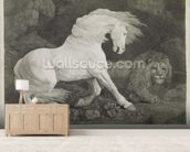 A Horse Affrighted by a Lion, engraved by the artist, pub. 1788 (etching) wall mural living room preview