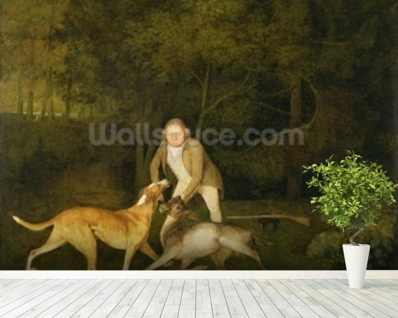 Freeman, the Earl of Clarendons Gamekeeper, With a Dying Doe and Hound, 1800 (oil on canvas) wallpaper mural room setting