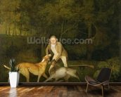 Freeman, the Earl of Clarendons Gamekeeper, With a Dying Doe and Hound, 1800 (oil on canvas) wallpaper mural kitchen preview
