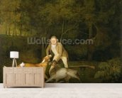 Freeman, the Earl of Clarendons Gamekeeper, With a Dying Doe and Hound, 1800 (oil on canvas) wallpaper mural living room preview