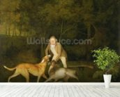 Freeman, the Earl of Clarendons Gamekeeper, With a Dying Doe and Hound, 1800 (oil on canvas) wallpaper mural in-room view
