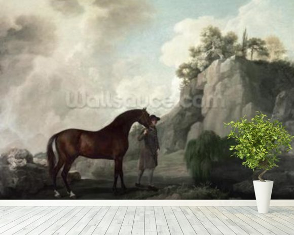 Cato and Groom (oil on canvas) wallpaper mural room setting