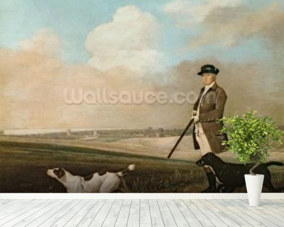 Sir John Nelthorpe, 6th Baronet out Shooting with his Dogs in Barton Field, Lincolnshire, 1776 (oil on panel) wall mural room setting