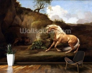 A Horse Frightened by a Lion, c.1790-5 (oil on canvas) wallpaper mural