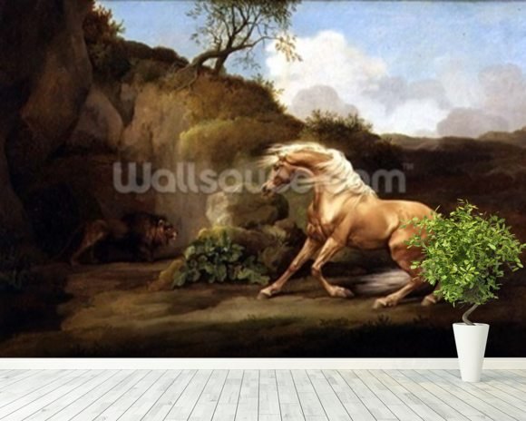 A Horse Frightened by a Lion, c.1790-5 (oil on canvas) wallpaper mural room setting