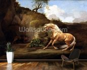 A Horse Frightened by a Lion, c.1790-5 (oil on canvas) wallpaper mural kitchen preview