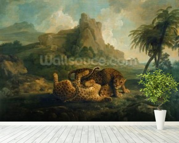 Leopards at Play, c.1763-8 wallpaper mural room setting