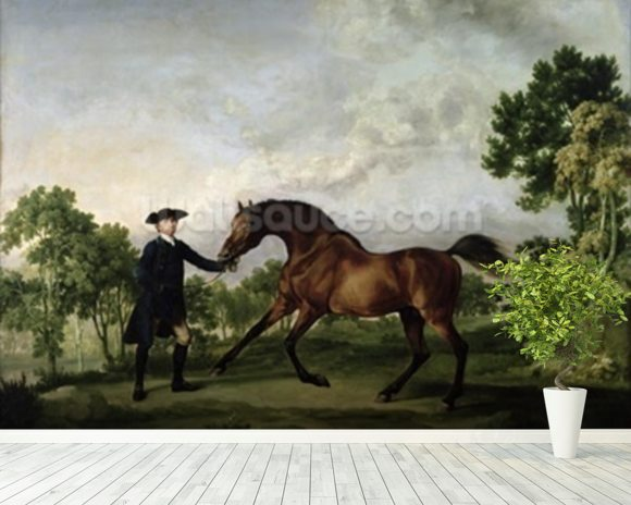 The Duke of Ancasters bay stallion Blank, held by a groom, c.1762-5 wall mural room setting