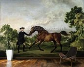 The Duke of Ancasters bay stallion Blank, held by a groom, c.1762-5 wall mural kitchen preview