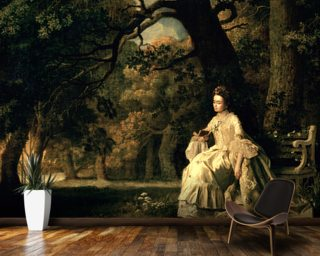 Lady reading in a Park 1768 Wallpaper Mural Wall Murals Wallpaper