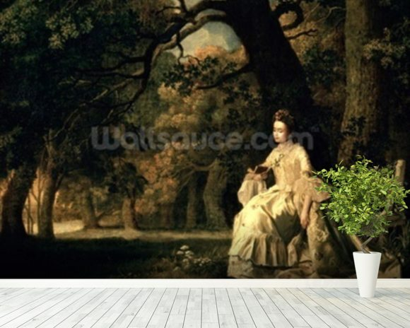 Lady reading in a Park, c.1768-70 wall mural room setting