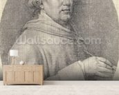 Study for a Self Portrait in Enamel, 1781 (graphite on wove paper) mural wallpaper living room preview