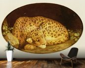 Sleeping Leopard, 1777 (enamel on Wedgwood biscuit earthenware) wallpaper mural kitchen preview